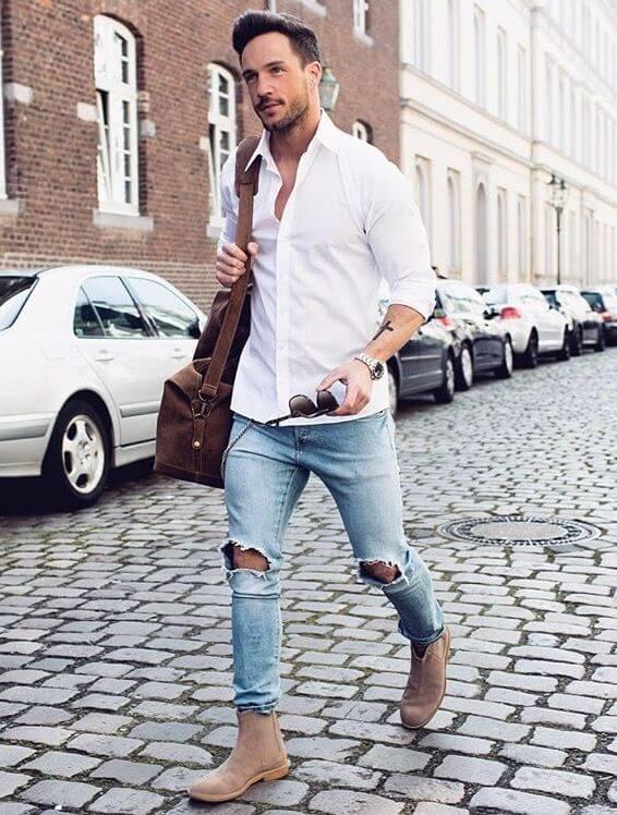 Dạo phố với sơ mi trắng