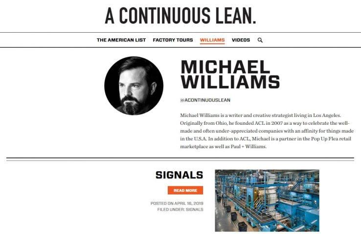 Blog phong cách sống A Continuous Lean của Michael Williams