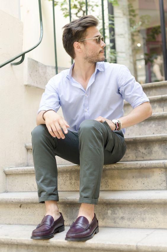 phối đồ với giày loafer nam