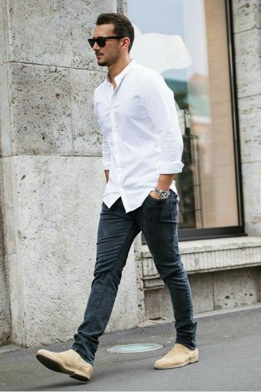 áo sơ mi trắng phối với quần jeans