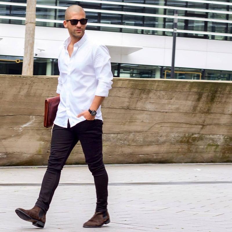 mix quần jeans với áo sơ mi