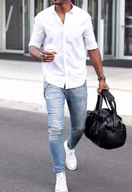 phối áo sơ mi và quần jeans