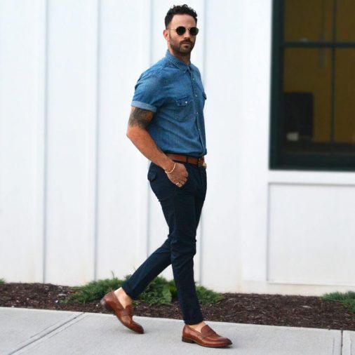 Giày lười phối cùng quần jeans nam