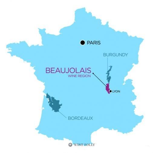 Vị trí vùng rượu Beaujolais của Pháp nằm giữa Paris và Lyon