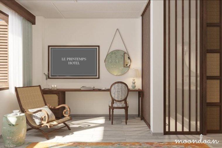 Bàn làm việc phòng ngủ nhỏ được tk chạy dài nối với kệ quầy bar để tiết kiệm diện tích mà vẫn đủ công năng tiêu chuẩn phòng 5*