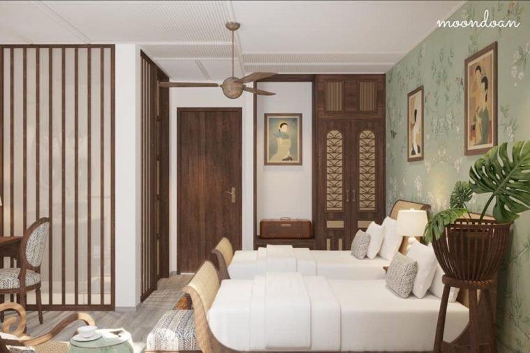 Phòng ngủ đôi. Tường ngăn toilet cũng là tường kính mờ kết hợp thanh gỗ trang trí để tạo cảm giác nhẹ nhàng cho phòng