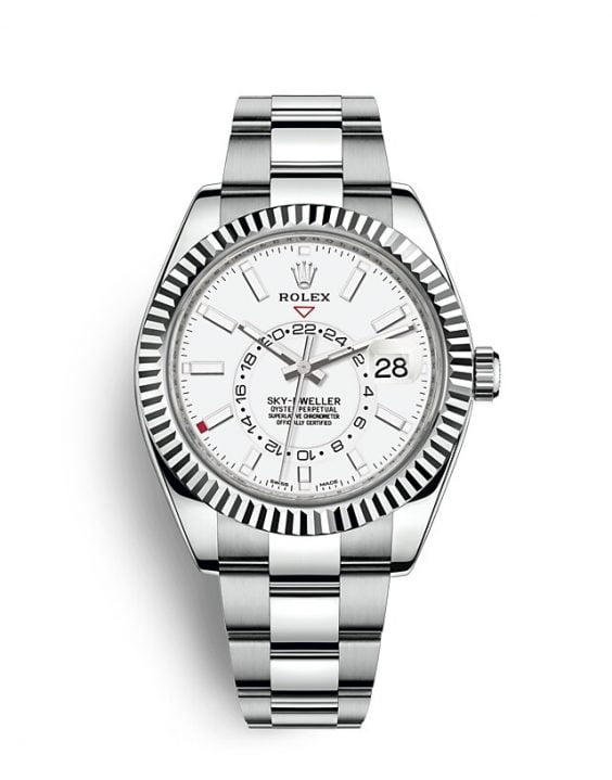 đồng hồ rolex sky dweller two tone white dial