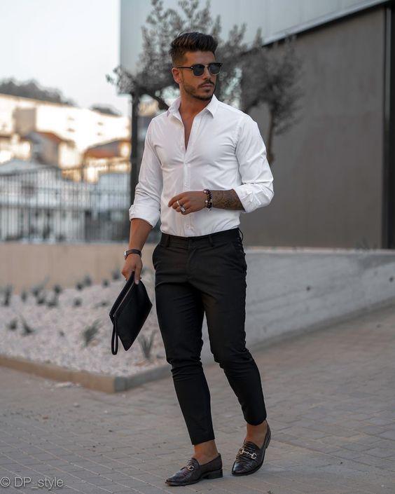 Áo sơ mi trắng + quần tây đen + giày loafers